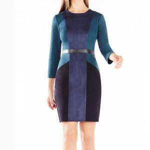 BCBG Beatriz Colorblock Suede Dress